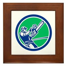 Tree Surgeon Trimming Chainsaw Circle Retro Framed