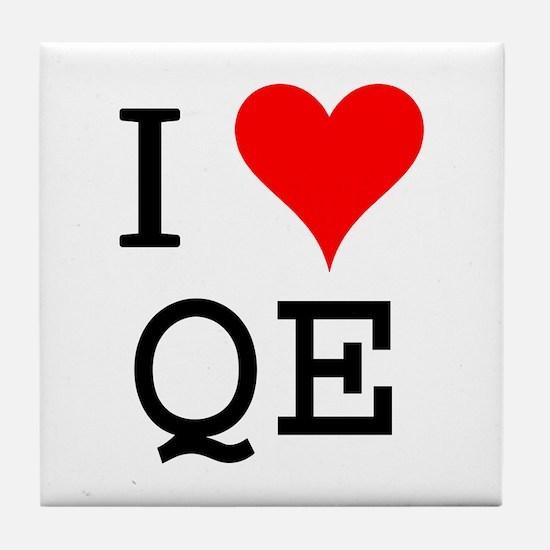 I Love QE Tile Coaster