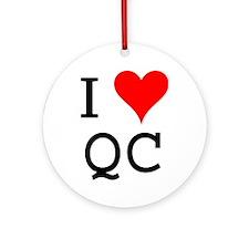 I Love QC Ornament (Round)