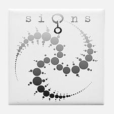 Spiral Crop Circle Grey Tile Coaster
