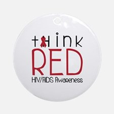 tHink RED Ornament (Round)