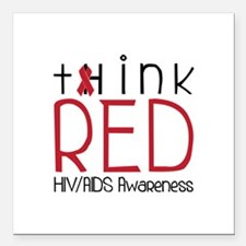 """tHink RED Square Car Magnet 3"""" x 3"""""""