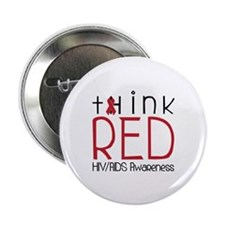 "tHink RED 2.25"" Button (10 pack)"