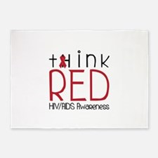 tHink RED 5'x7'Area Rug