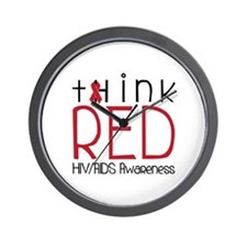 tHink RED Wall Clock