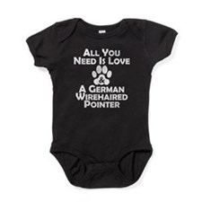 Love And A German Wirehaired Pointer Baby Bodysuit