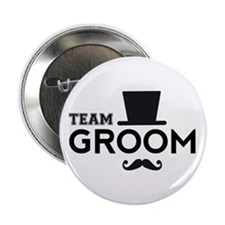 "Team groom, hat and mustache 2.25"" Button"