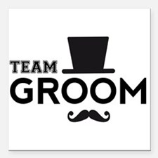 """Team groom, hat and mustache Square Car Magnet 3"""""""