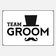 Team groom, hat and mustache Banner