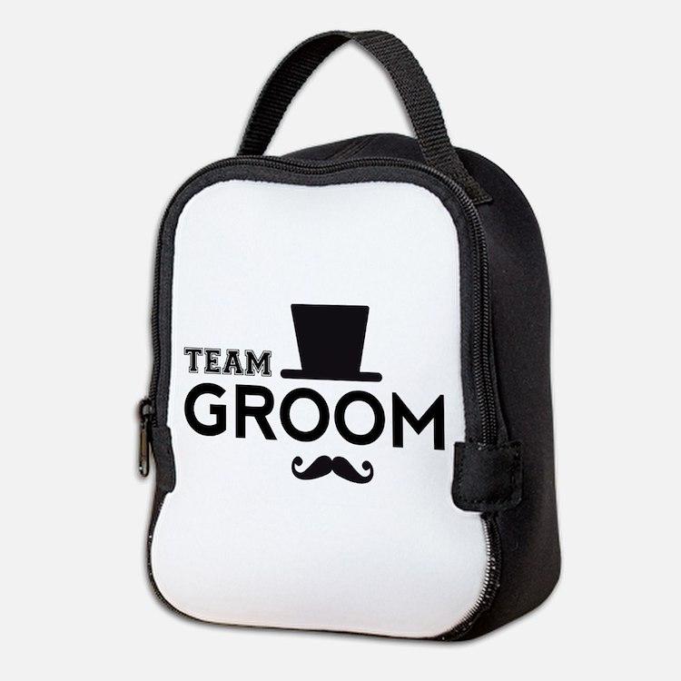 Team groom, hat and mustache Neoprene Lunch Bag