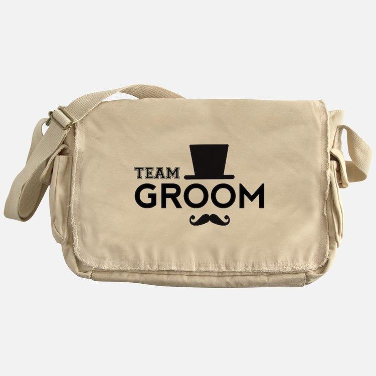Team groom, hat and mustache Messenger Bag