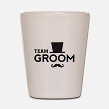 Team groom, hat and mustache Shot Glass