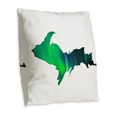 Aurora Borealis U.P. 2 Burlap Throw Pillow