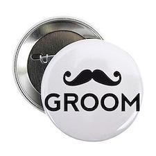 "Groom mustache 2.25"" Button"