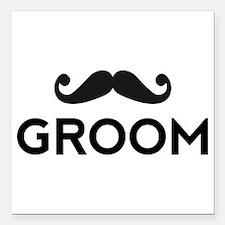 "Groom mustache Square Car Magnet 3"" x 3"""