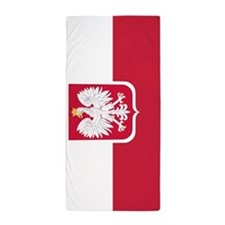 Polish Flag Coat of Arms Beach Towel