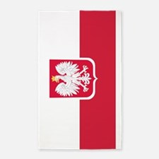 Polish Flag Coat of Arms 3'x5' Area Rug