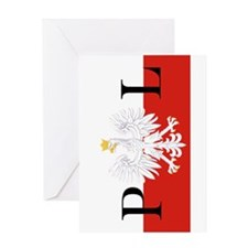 Polish Flag PL Greeting Cards
