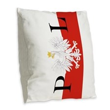 Polish Flag PL Burlap Throw Pillow