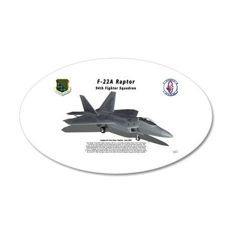 F-22 Raptor 94FS with shadow 20x12 Oval Wall Decal
