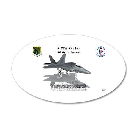 F22 Raptor 94FS w/reflection 20x12 Oval Wall Decal