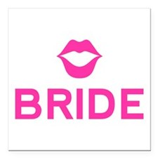 "Bride pink lips Square Car Magnet 3"" x 3"""
