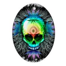 Marijuana Psychedelic Skull Ornament (Oval)