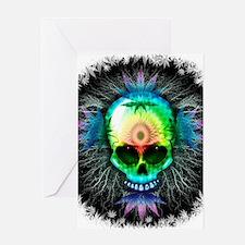 Marijuana Psychedelic Skull Greeting Cards