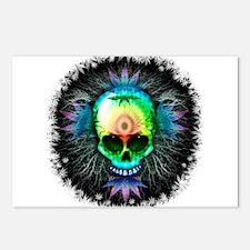 Marijuana Psychedelic Skull Postcards (Package of