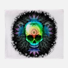 Marijuana Psychedelic Skull Throw Blanket