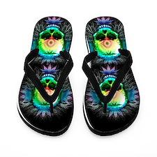 Marijuana Psychedelic Skull Flip Flops