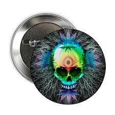"Marijuana Psychedelic Skull 2.25"" Button"