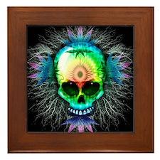 Marijuana Psychedelic Skull Framed Tile