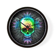 Marijuana Psychedelic Skull Wall Clock