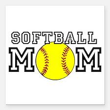 """Softball Mom Square Car Magnet 3"""" x 3"""""""