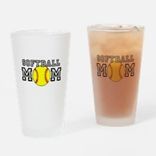 Softball Mom Drinking Glass