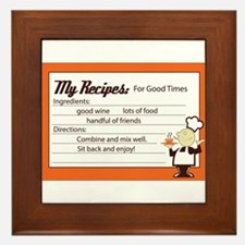 My Recipes For Good Times Framed Tile