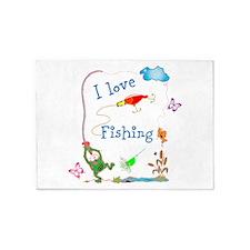 I LOve Fishing Froggy 5'x7'Area Rug