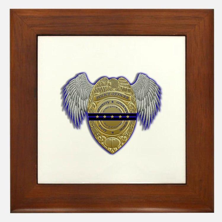 Fallen Police Officer Badge Framed Tile