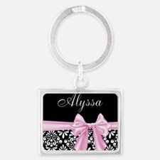 Black Pink Bow Damask Personalized Keychains