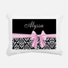 Black Pink Bow Damask Personalized Rectangular Can