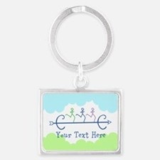 Optional Text Cross Country Run Landscape Keychain