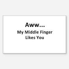 Middle Finger Sticker (Rectangle)