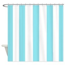 Aqua and white stripes Shower Curtain