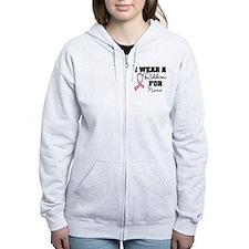 Custom Ribbon Breast Cancer Zip Hoodie