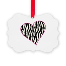 Zebra Heart Ornament