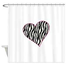 Zebra Heart Shower Curtain