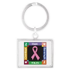 Breast Cancer Courage Landscape Keychain