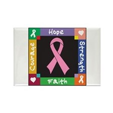 Breast Cancer Courage Rectangle Magnet