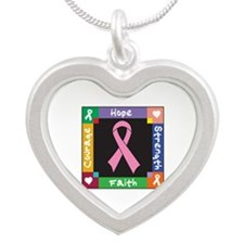 Breast Cancer Courage Silver Heart Necklace